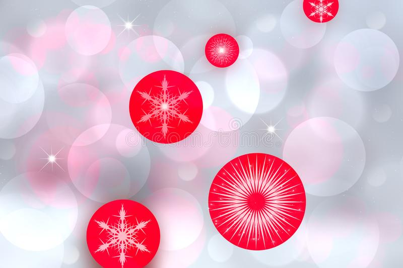 Red Christmas balls over abstract festive delicate winter christmas or New Year background texture with shiny light blue pink and stock illustration