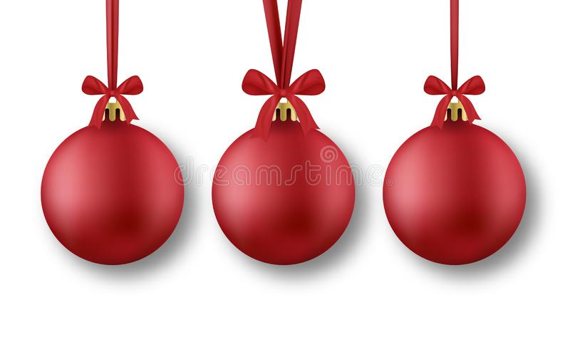 Red Christmas balls. Realistic red Christmas balls with silk ribbons and bow, isolated on white background stock illustration