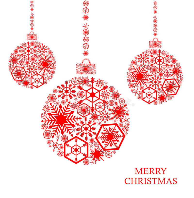 Red christmas balls with snowflakes on a white background. Holiday card royalty free illustration