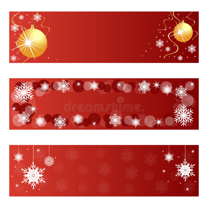 Red Christmas banners. Set of three red Christmas banners isolated on white background.EPS file available