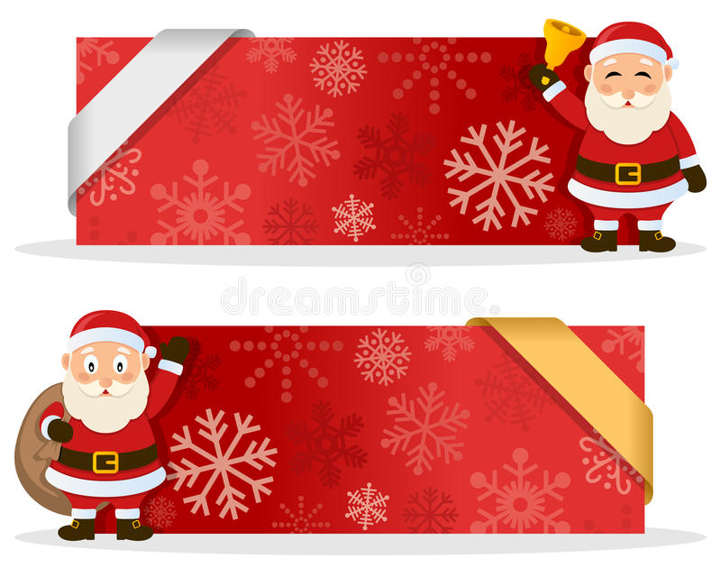 Red Christmas Banners with Santa Claus. Two red Christmas banners with a cute cartoon Santa Claus smiling and greeting, snowflakes and a ribbon. Eps file stock illustration