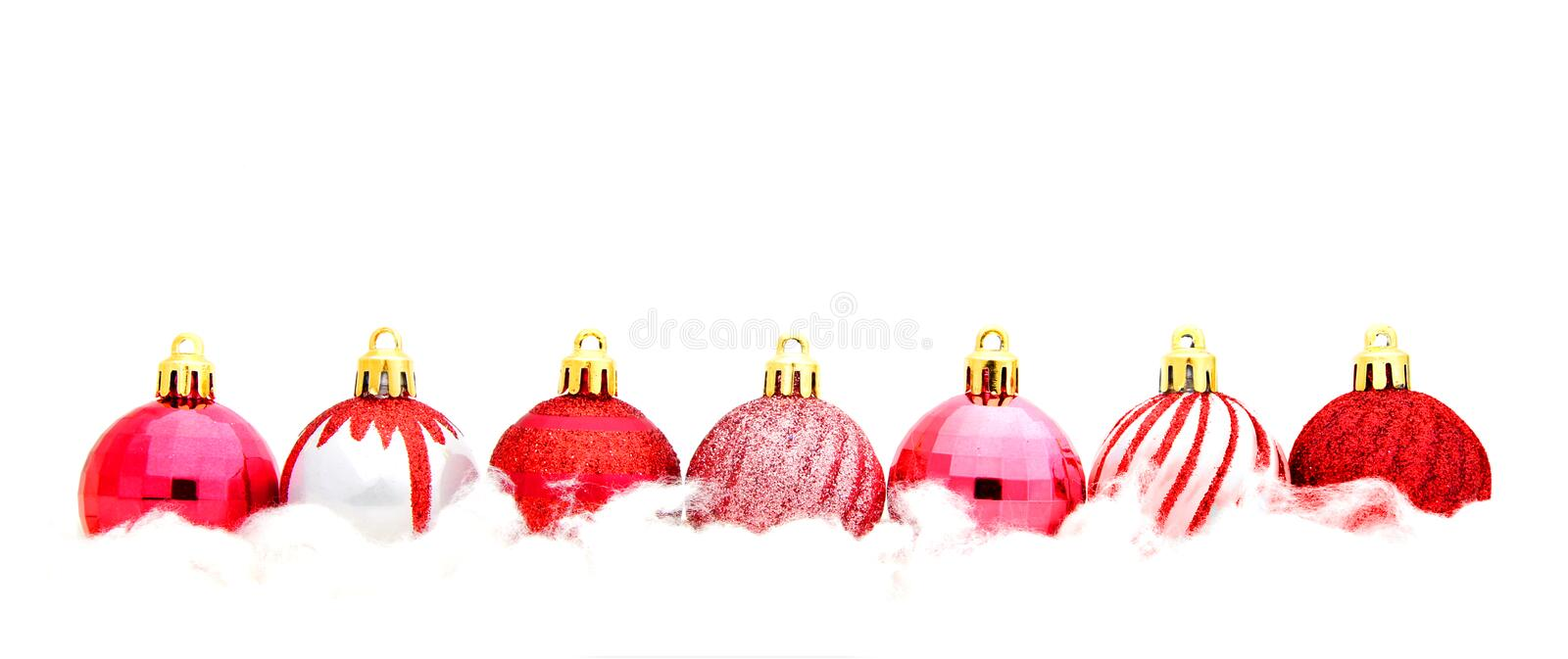 Red Christmas Bauble Border Stock Image