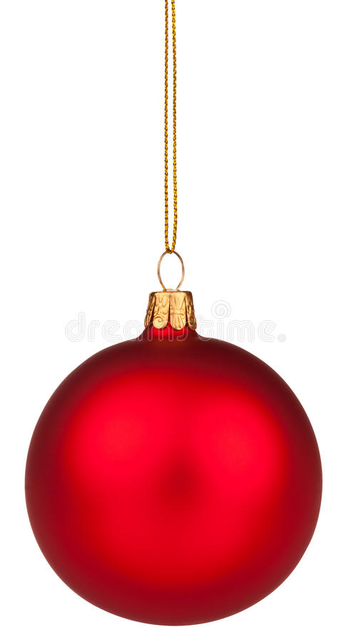 Red Christmas Bauble With Clipping Path Stock Image