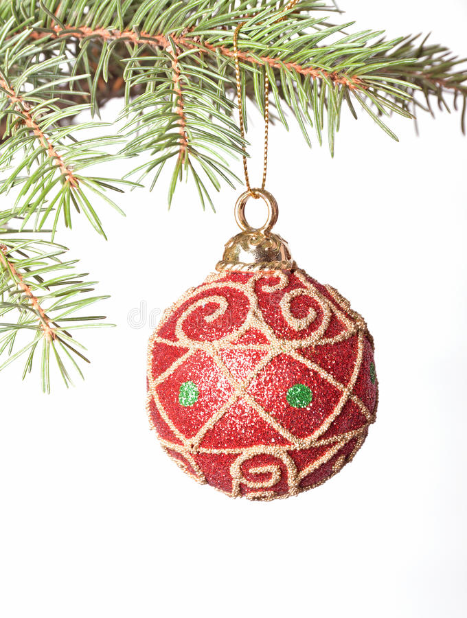 Download Red Christmas Bauble On Fir-tree Brunch Stock Image - Image of needle, winter: 16929635