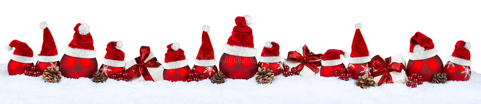 Red christmas bauble row santa hat stock images