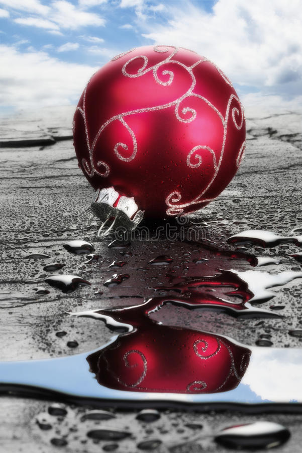 Download Red Christmas Bauble On Wet Slate Stock Image - Image: 43032697