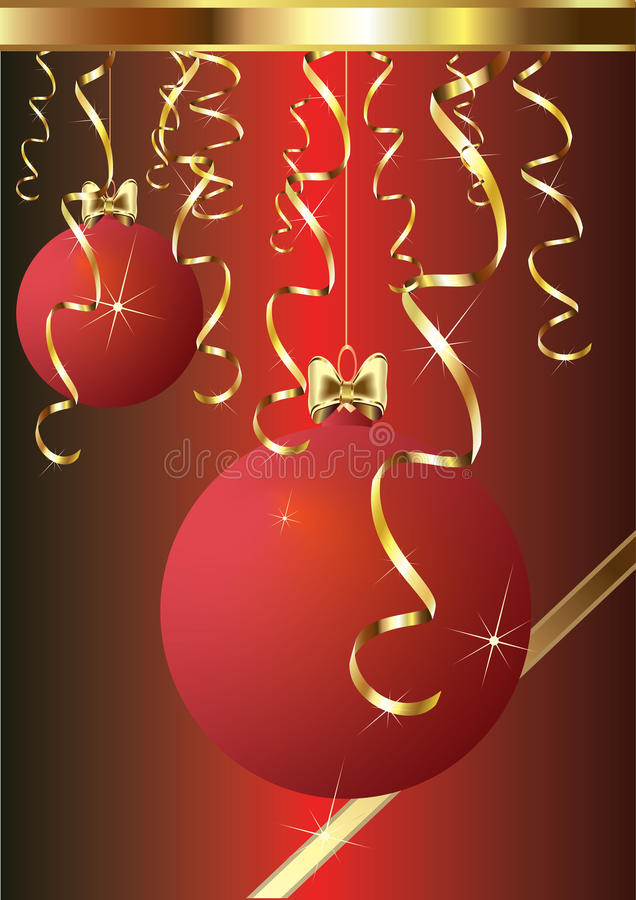 Red christmas baubles. With gold decoration stock illustration