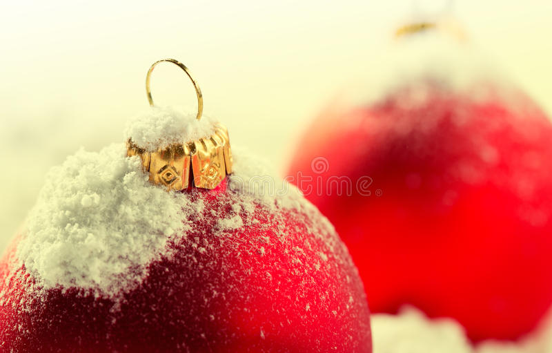 Download Red christmas baubles stock photo. Image of snowcapped - 26654994