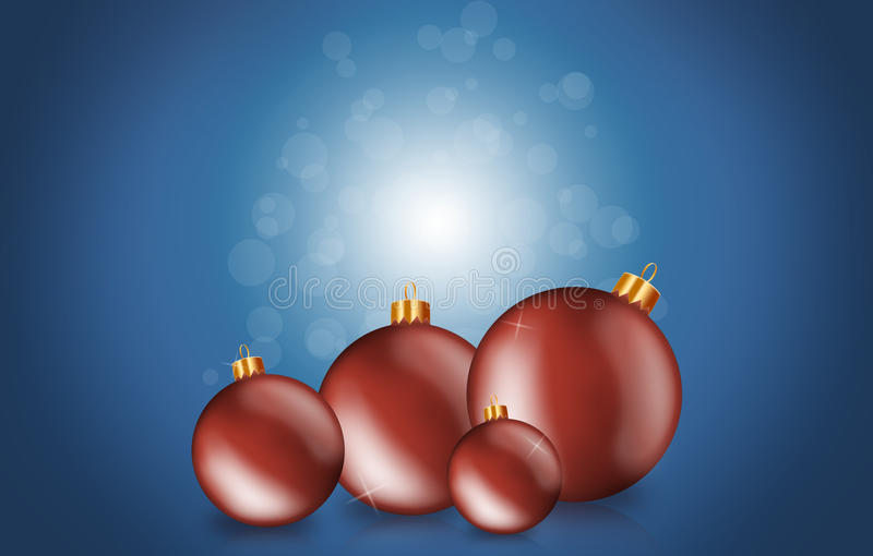 Download Red Christmas Baubles On A Blue Background Stock Illustration - Illustration: 22075173