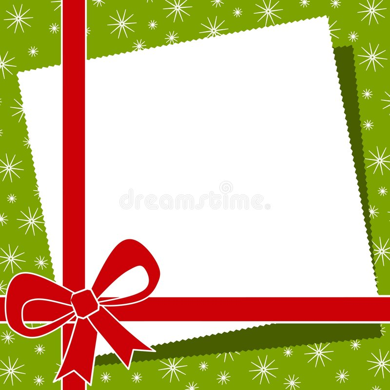 Red Christmas Bow Border. A background border or frame of casually arranged paper, Christmas colors, red ribbon and snowflakes