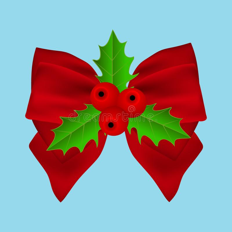 Red Christmas bow with holly on ribbon stock photography