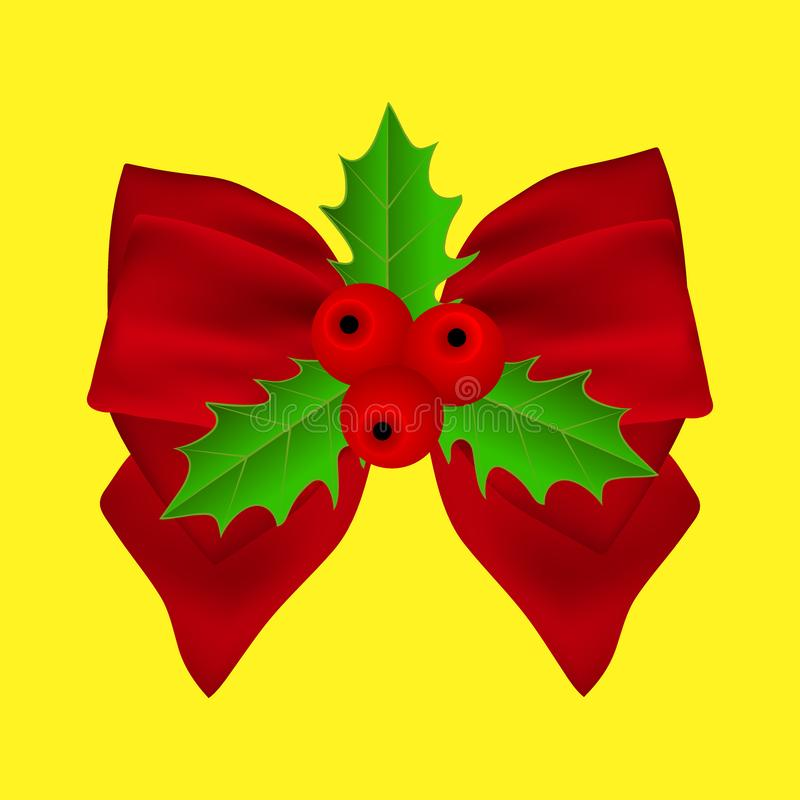 Red Christmas bow with holly on ribbon stock photos