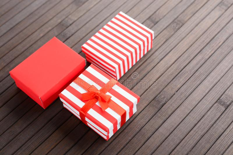Red Christmas boxes royalty free stock photos