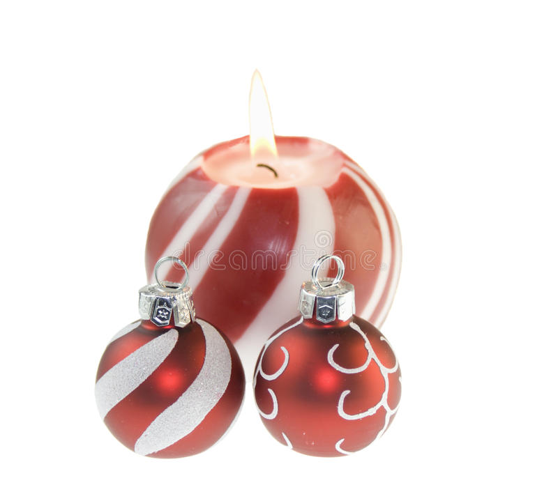Red Christmas Candle With Baubles Stock Images
