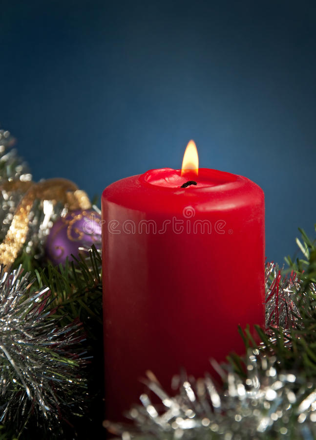 Download Red Christmas Candle Burning Stock Photo - Image: 26310562