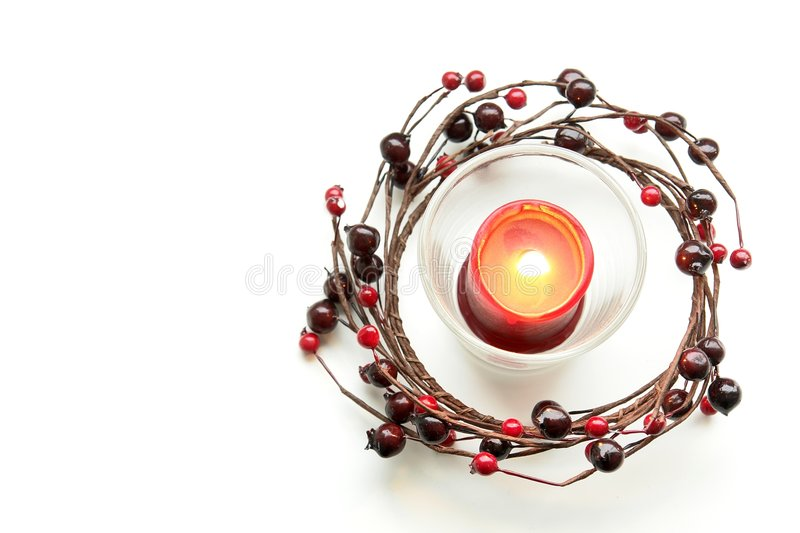 Red Christmas Candle Isolated stock images