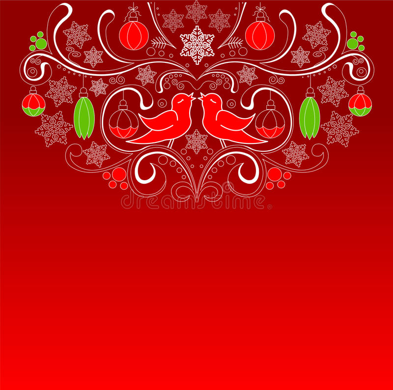 Red Christmas Card. Red Christmas background with place for copy space. Christmas Card stock illustration