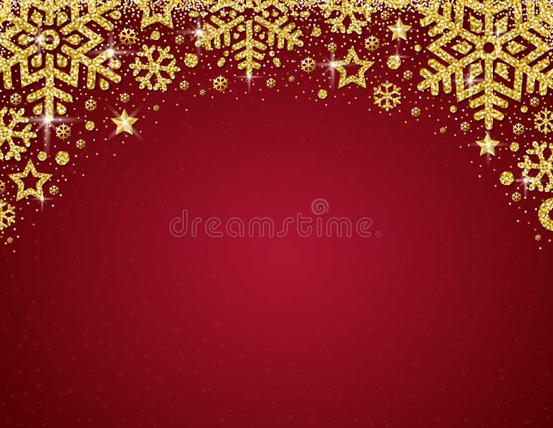 Red christmas card with frame of golden glittering snowflakes a vector illustration