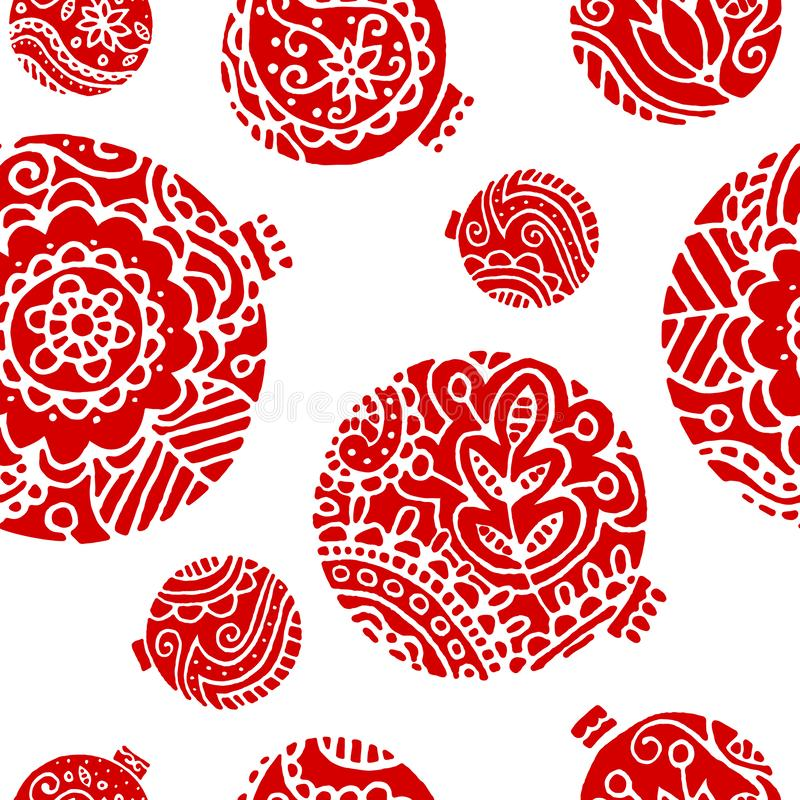 Red christmas decor seamless pattern. Bright floral decor on a white background. stock illustration