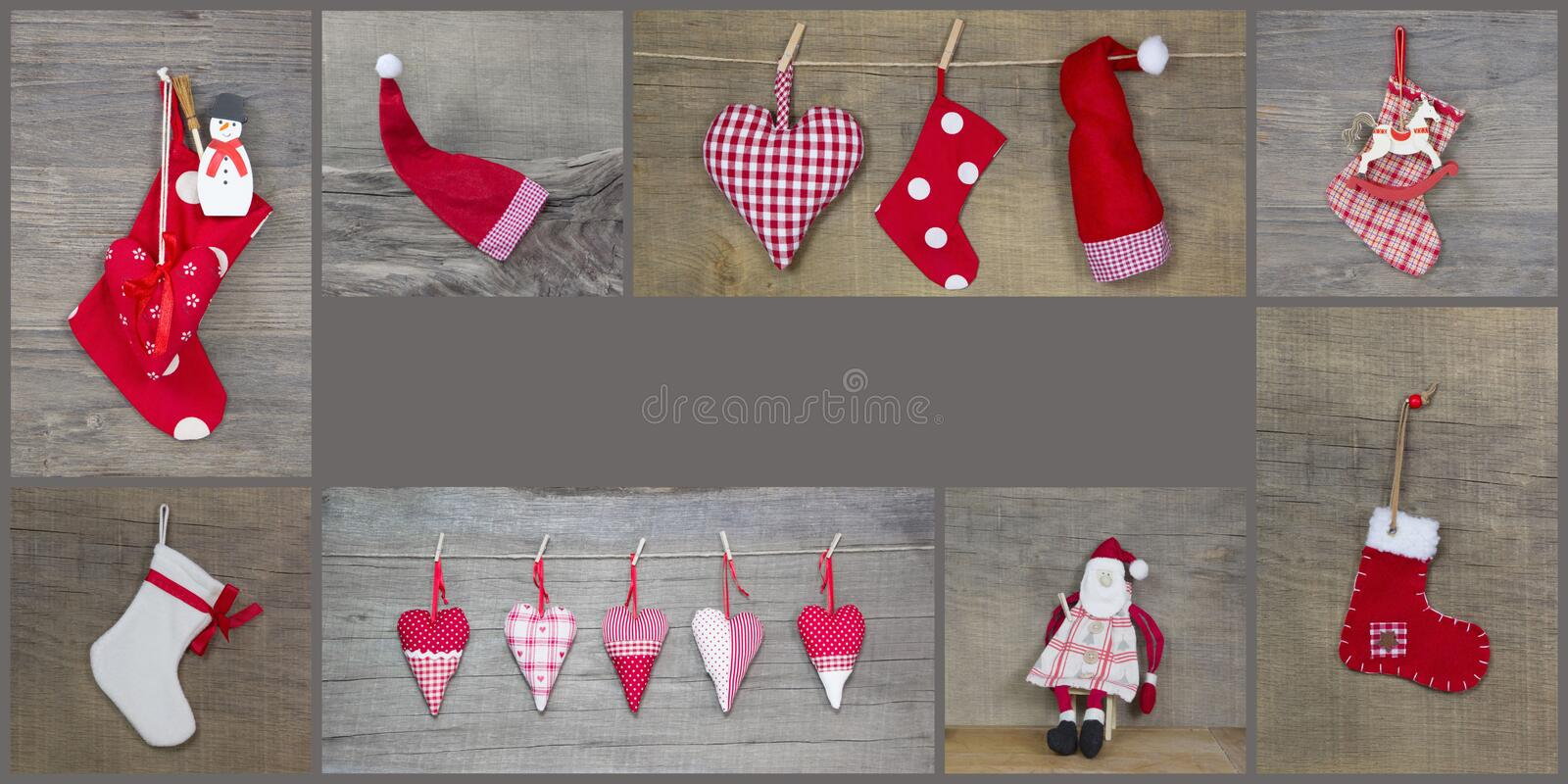 Red christmas decoration with hearts, santa claus, rocking horse royalty free stock photos