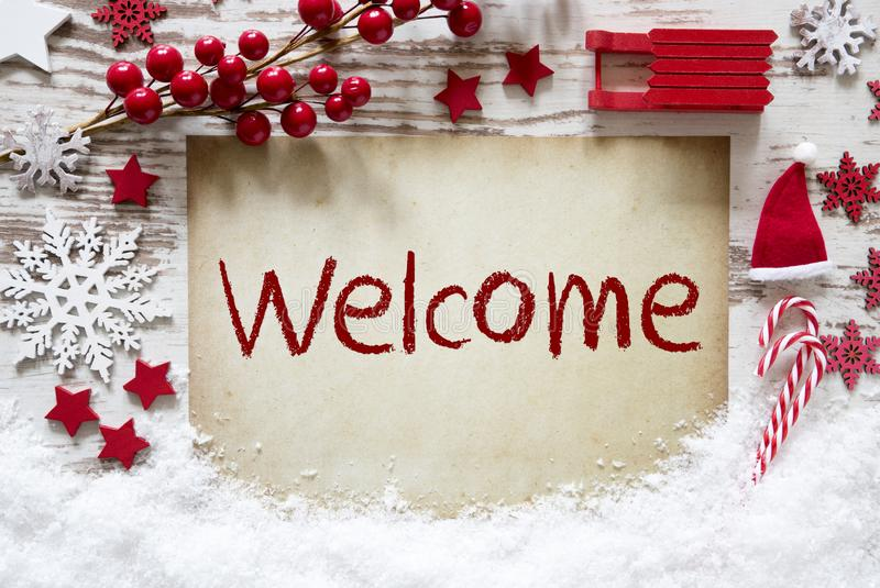 Red Christmas Decoration, Snow, English Text Welcome royalty free stock photo