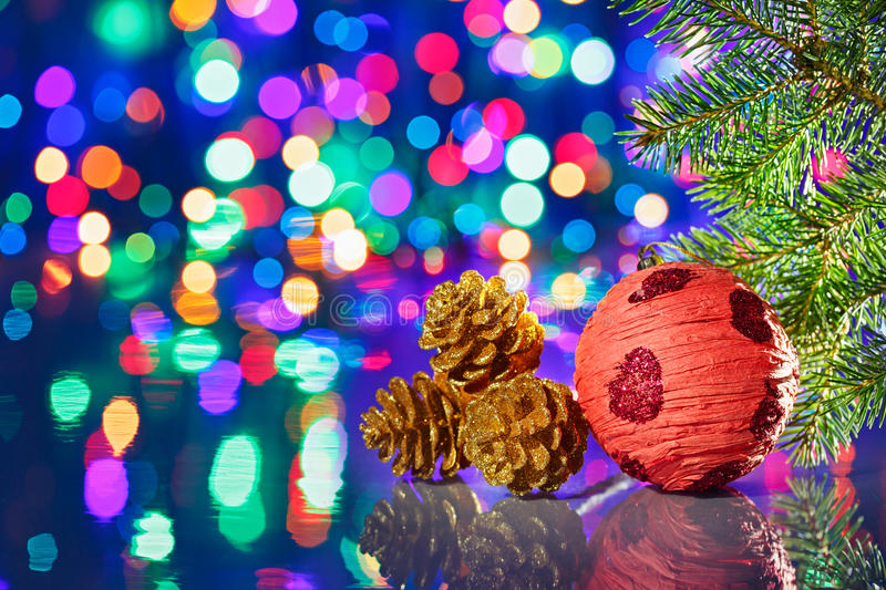 Red Christmas decorations ball with spruce