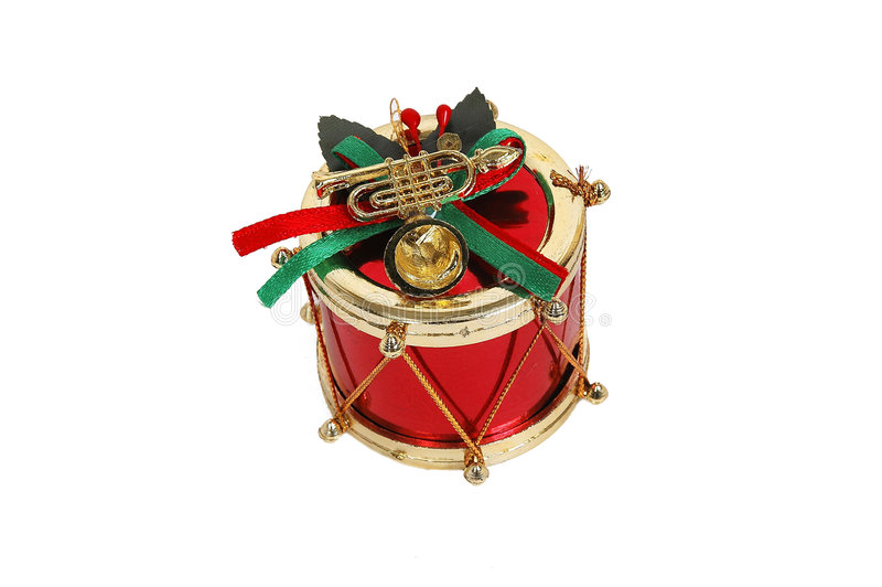 Red christmas drum. Close-up royalty free stock photos