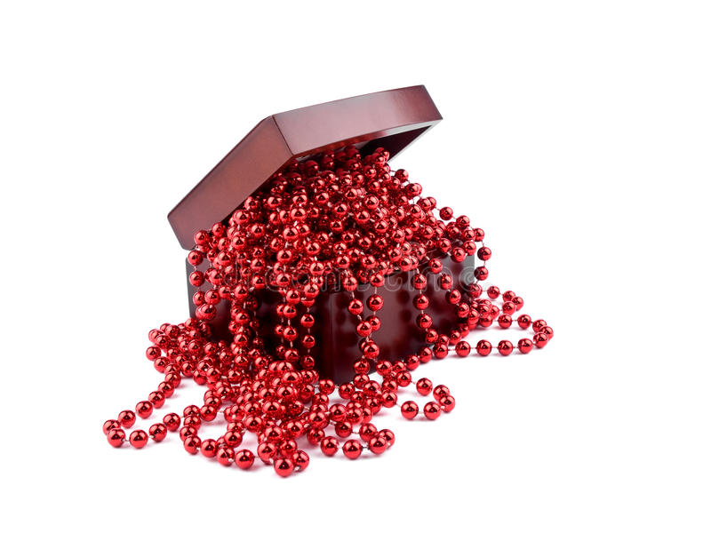 Download Red Christmas Garland In Wooden Box Stock Photo - Image of party, chain: 20533642
