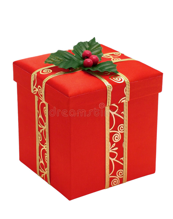Red Christmas gift box with gold ribbon royalty free stock photography