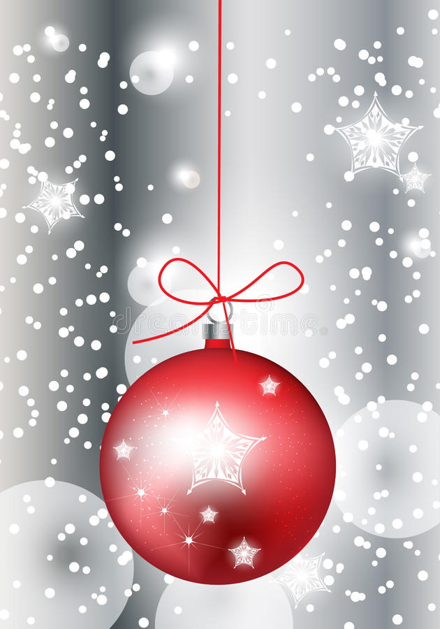 Red christmas globe in sparkling snow vector illustration