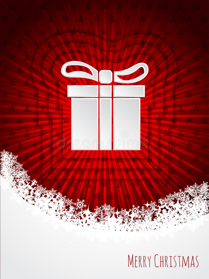 Red christmas greeting with bursting christmas giftbox. Red christmas greeting card design with bursting christmas giftbox royalty free illustration