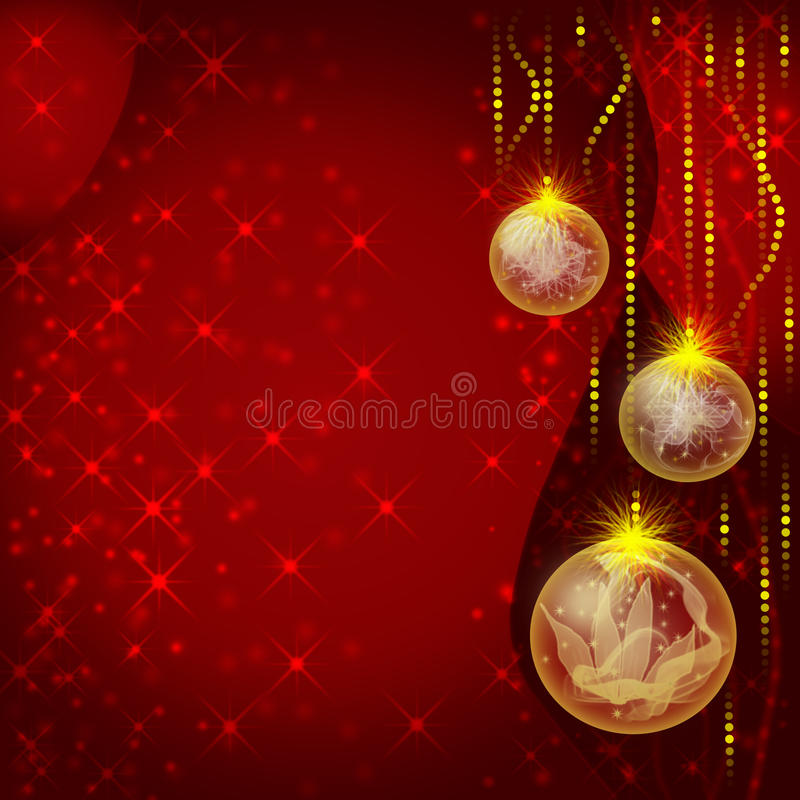 Red christmas greeting card. With balls vector illustration