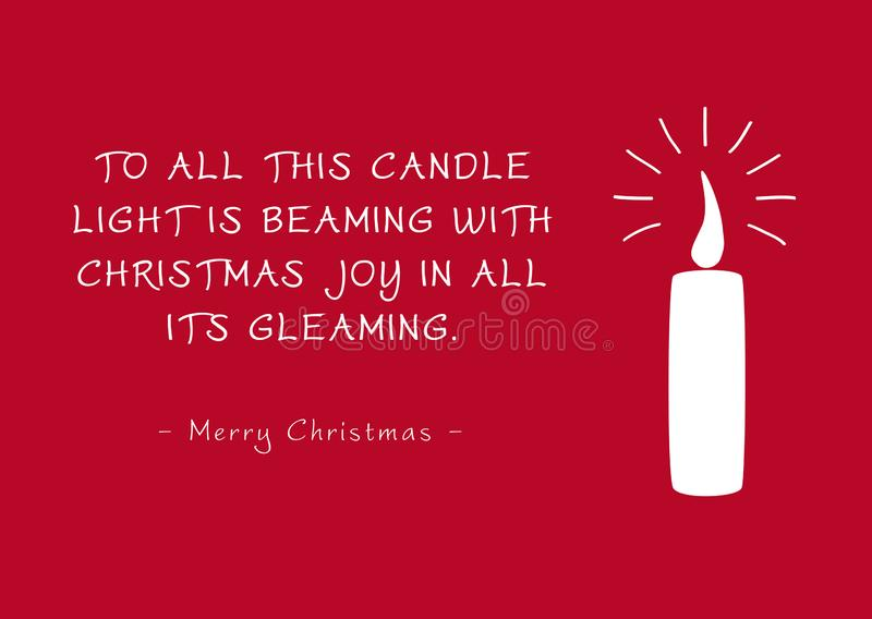 Red Christmas Greeting Card - Candlelight and Poem stock illustration