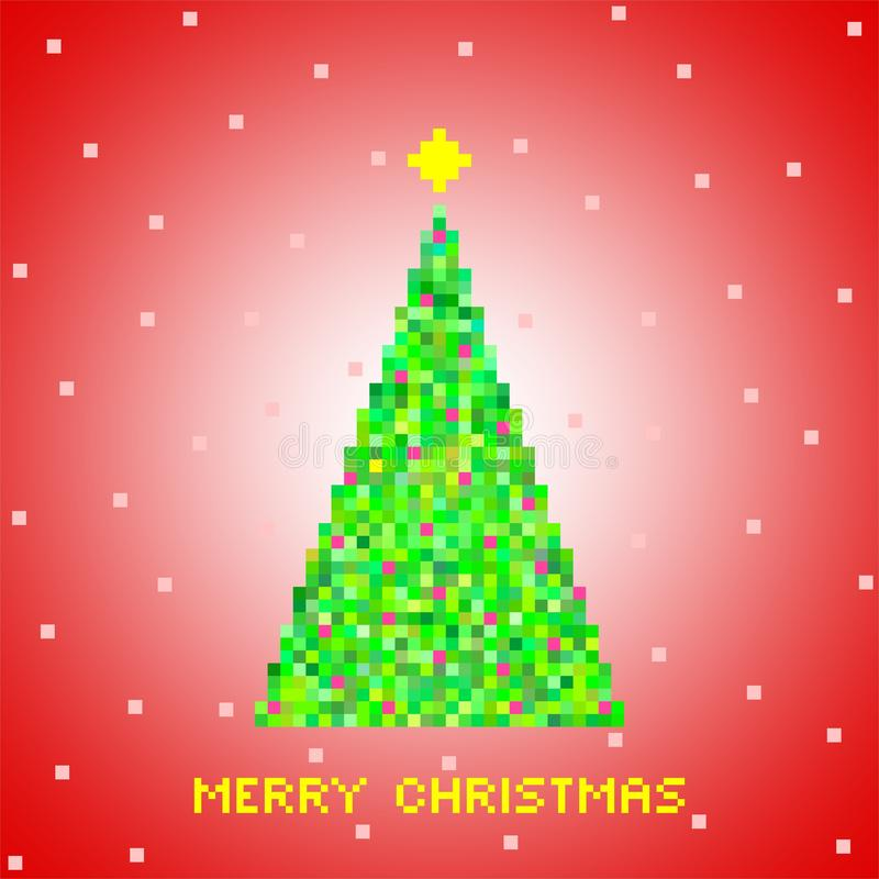 Red Christmas greeting from green Christmas tree of green pixels, small green squares with red squares with gold star and snow on vector illustration