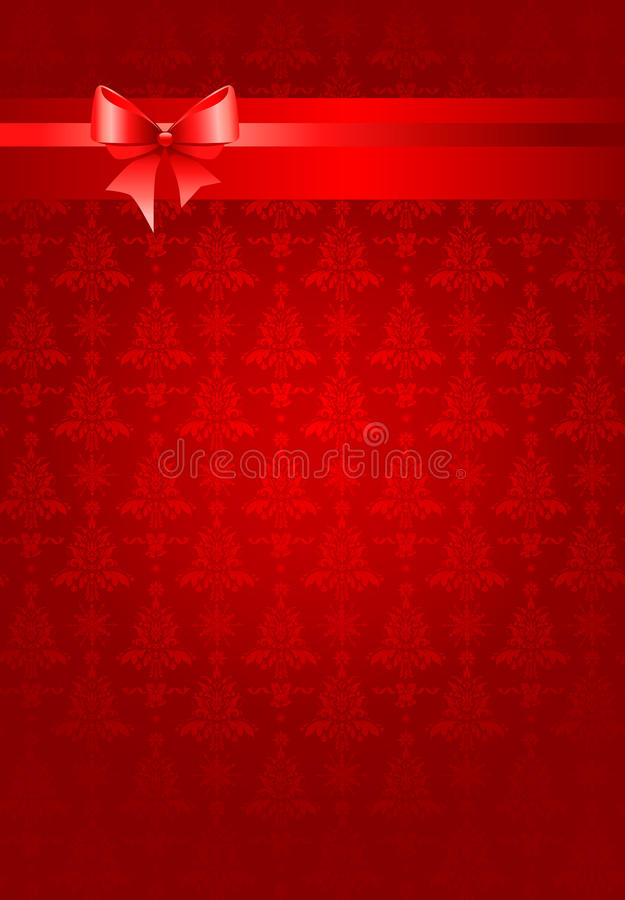 Red christmas holiday background with ribbon royalty free illustration
