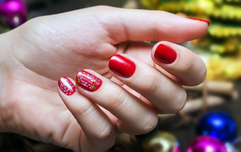 Red Christmas Manicure stock photography