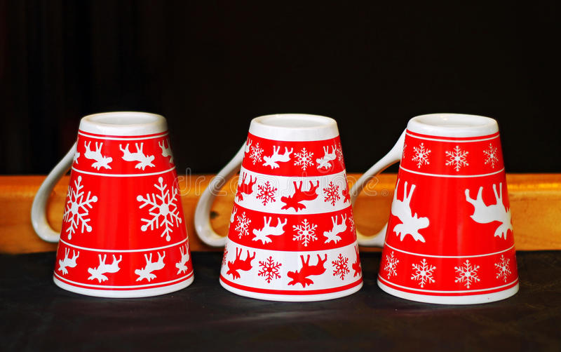 Download Red christmas mugs stock photo. Image of porcelain, morning - 36024212