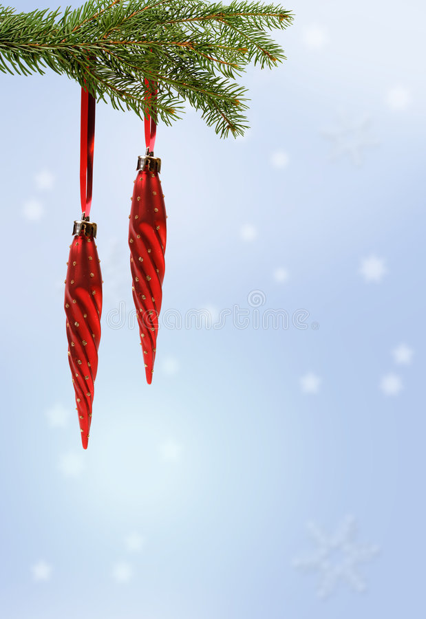 Red christmas ornament on branch royalty free stock photos