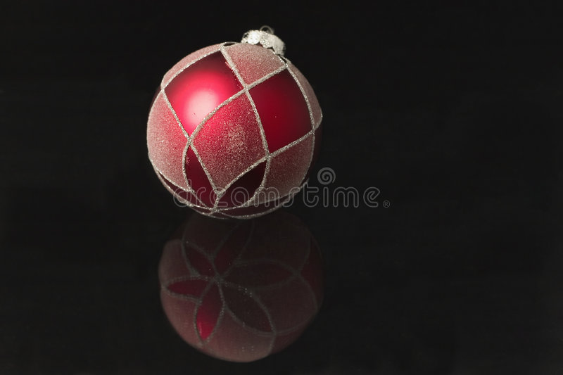 Red Christmas Ornament Reflected Stock Photography