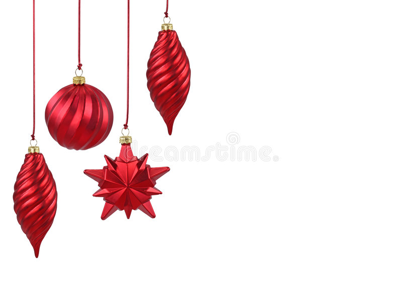 Red Christmas ornaments. Isolated on white background royalty free stock images