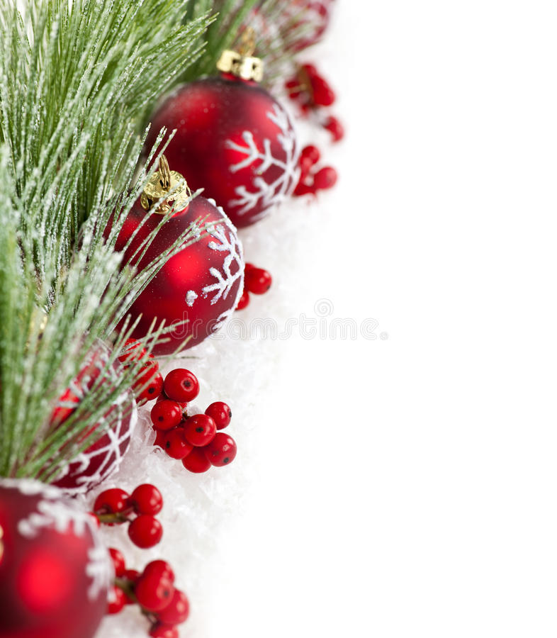 Red christmas ornaments border stock photo image