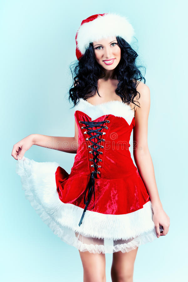 Download Red christmas stock image. Image of girl, brunette, costume - 37681425