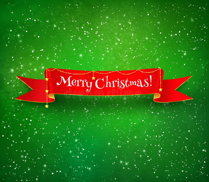 Red Christmas ribbon banner stock illustration