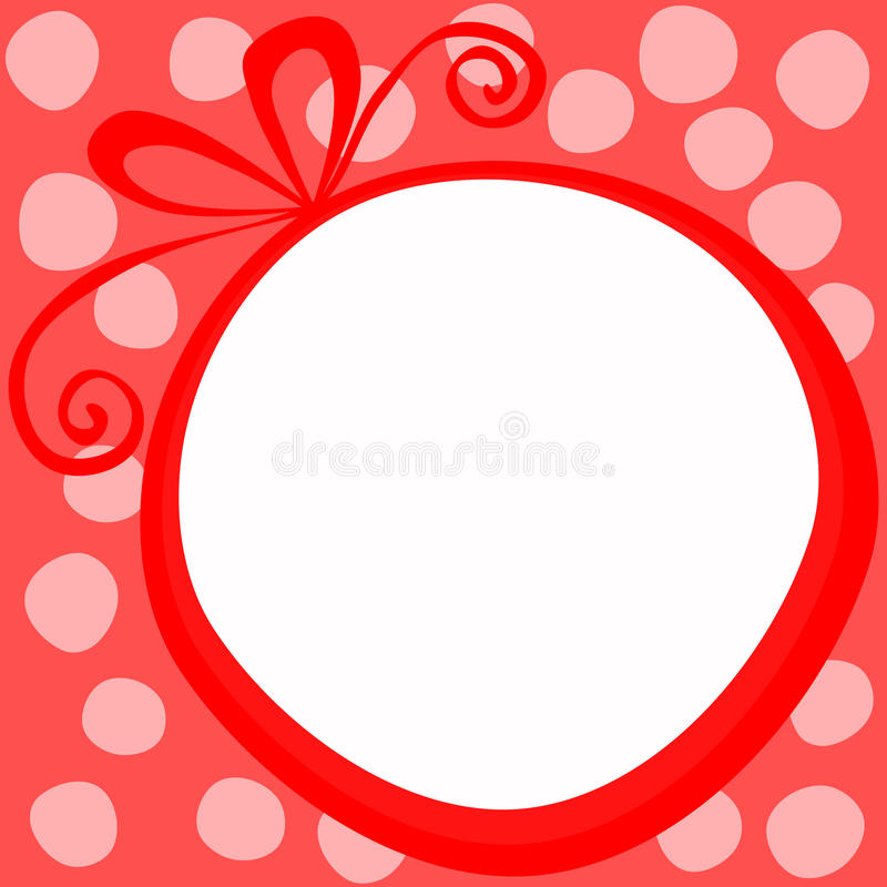 Red Christmas Round Gift Frame Card royalty free stock image