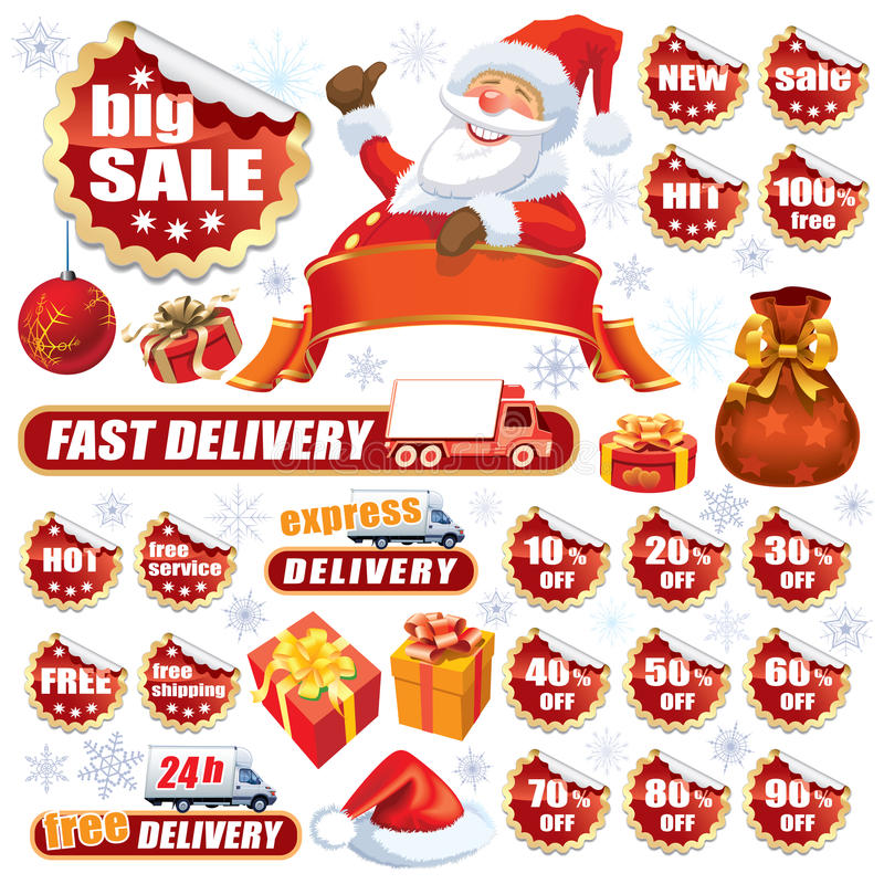Download Red Christmas sale stock vector. Image of delivery, note - 27104448