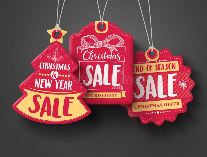 Red Christmas sale paper tags vector set with different shapes and hand drawn elements vector illustration