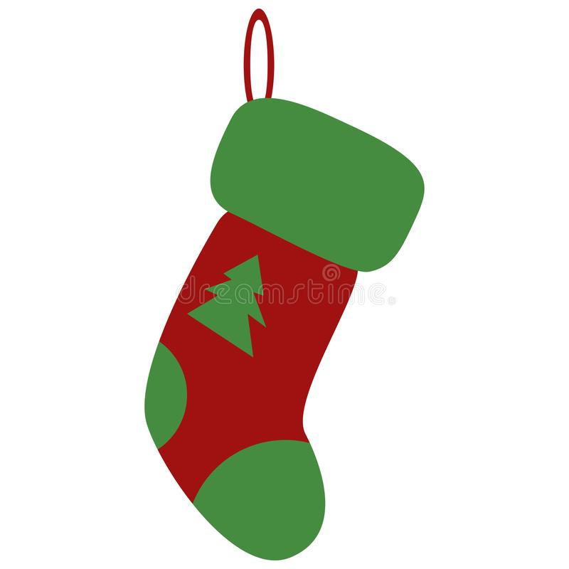 Red Christmas sock with green xmas tree. White fur, wool, stocking, tree. Xtmas concept. Vector illustration can be used royalty free illustration