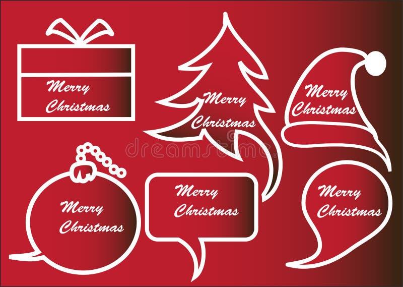Red Christmas Speech Bubbles Stock Photos