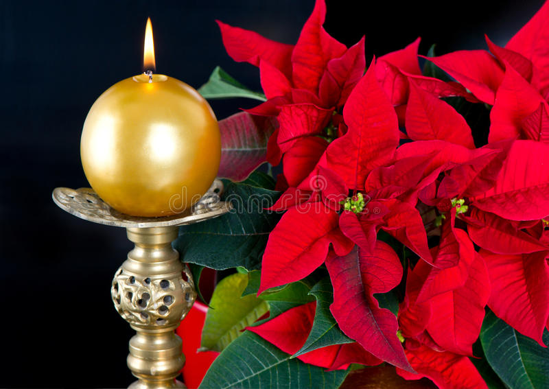Red Christmas Star With Golden Candle Royalty Free Stock Photos