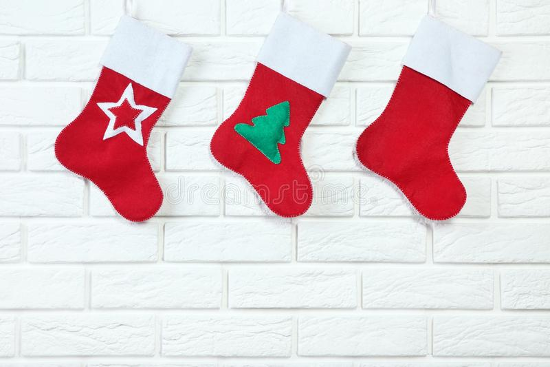 Red christmas stockings royalty free stock photography
